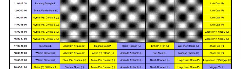 OP1224 VisCom Lab Master Schedule ::: Fall 2012 :::
