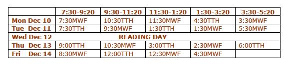 Fall 2012 Final Exam Schedule