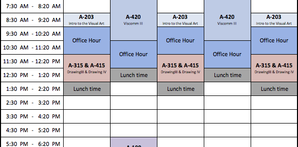 Teaching Schedule - Spring 2014