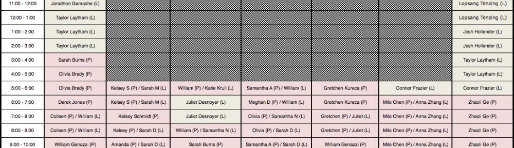 Lab Monitor Schedule - Spring 2014