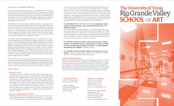 Pro Bono Work 2015/2016 - 4: Brochure Design for UTRGV School of Art | Fall 2015