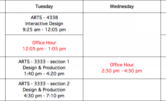 Teaching Schedule of PXSTUDIO Classes | Spring 2018 & Summer 2018 / UTRGV School of Art